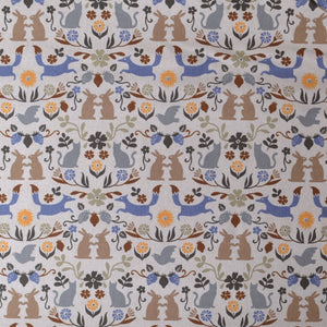 Scandinavian Style Foxes, Birds, Rabbits on Cotton/Linen Fabric
