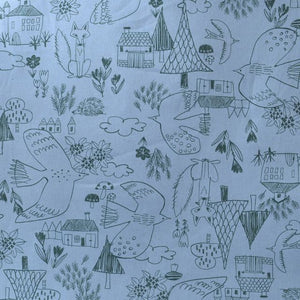 cotton sewing fabric foxes, birds, houses