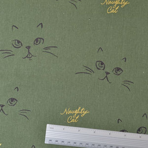 Cat Faces on Cotton Fabric