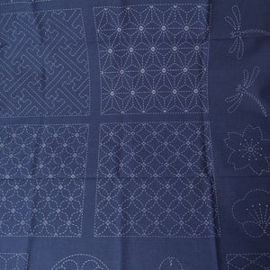 Sashiko Preprinted Panel #1, Navy