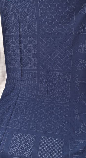 sashiko tsumugi fabric panel