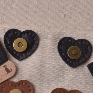 heart shaped leather sew in  magnetic snaps, black