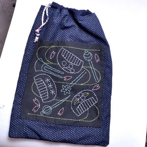 sample of sashiko on drawstring bag