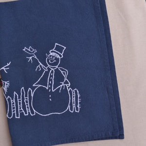 Embroidered kitchen towel snowman