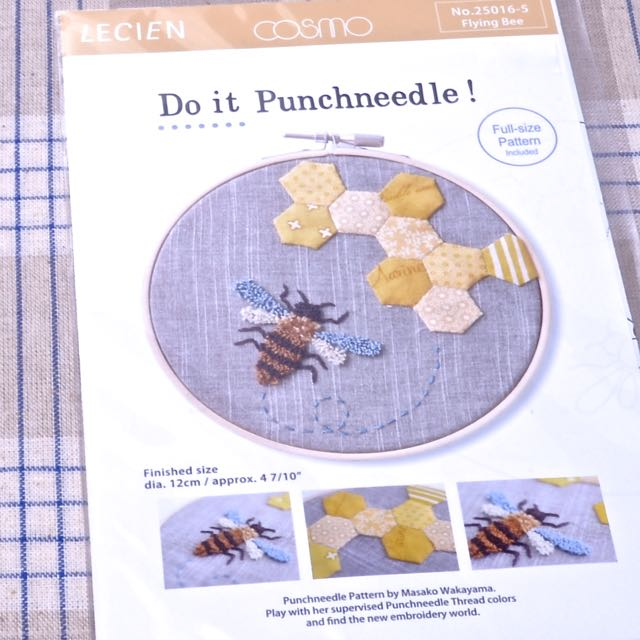 Flying Bee With Hexies Punch Needle Embroidery Pattern A Threaded