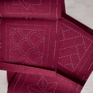 red sashiko coasters kit