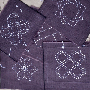 sashiko black coaster kit, five designs