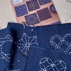 Sashiko kit pre-printed coaster set
