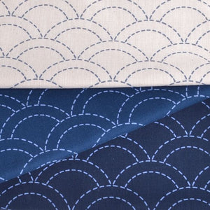 sashiko preprinted fabric waves