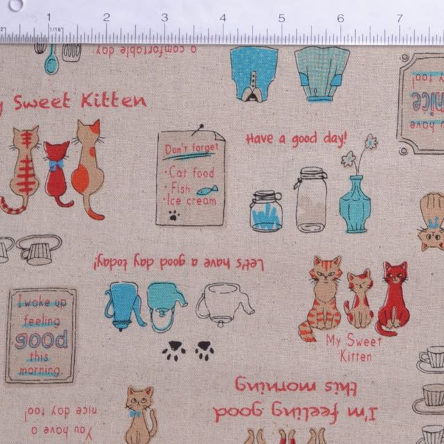 kitchen cats sewing fabric