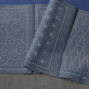 Sashiko Patch Mending Collection, Blue/Gray