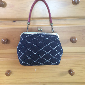 sashiko purse with metal clasp frame