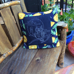 sashiko owl cushion