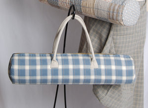 Linen handles on yoga bag