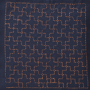 stitched sample of linked crosses sashiko