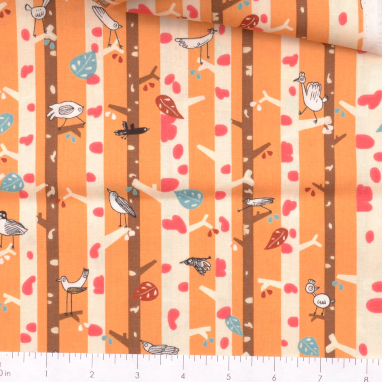birds among white tree trunks fabric