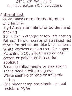 materials list for Australian Wildflowers patterns