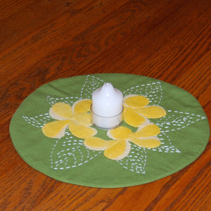 Candle Mat made from Plumeria Pattern