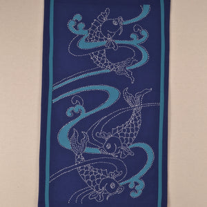 Sashiko Stitched Koi Water & Waves
