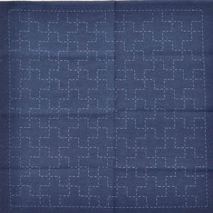 sashiko design linked crosses preprinted fabric for stitching