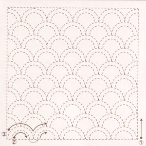 sashiko preprinted fabric kit waves design