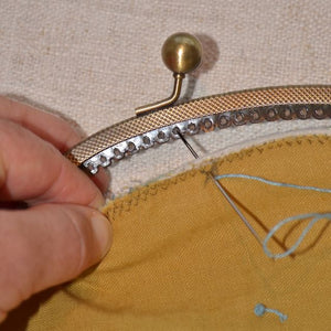 sewing clasp purse frame to fabric