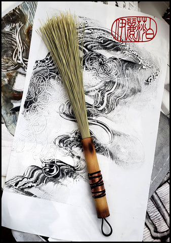 African Broom Fiber Paint Brush With Bamboo Handle Art Supplies Elizabeth Schowachert Art