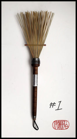 African Fiber Fan Paint Brush with Vintage Quill Bobbin Spool Handle - Elizabeth Schowachert Art