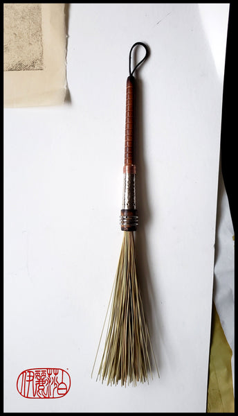 African Fiber Paint Brush with Vintage Quill Bobbin Spool Handle - Elizabeth Schowachert Art