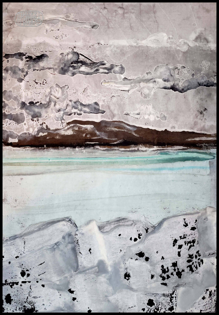 """Bigfork In Winter 2"" Encaustic Monotypes Original 22X16 Fine Art Elizabeth Schowachert Art"