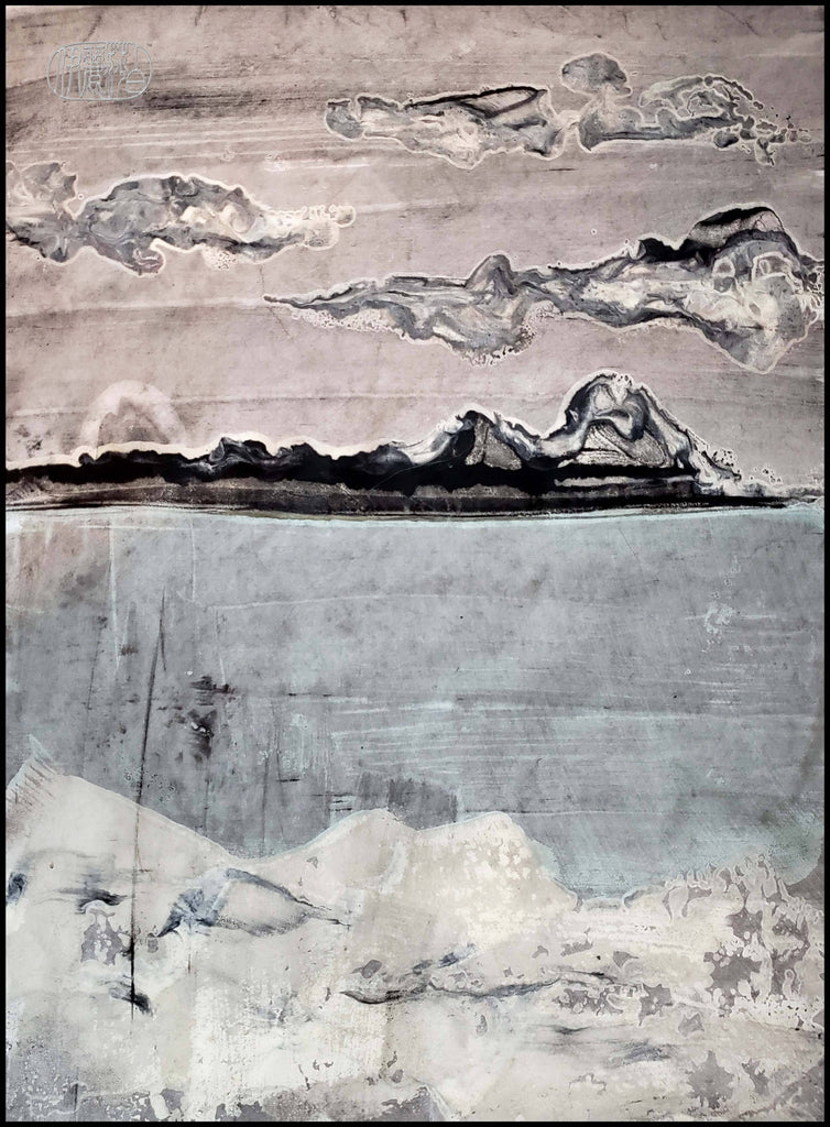 """Bigfork In Winter 4"" Encaustic Monotypes Original 22X16 Fine Art Elizabeth Schowachert Art"