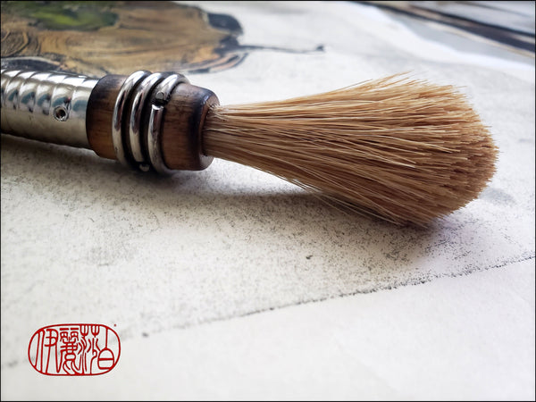 Blond Horsehair Paint Brush with Vintage Quill Bobbin Spool Handle - Elizabeth Schowachert Art