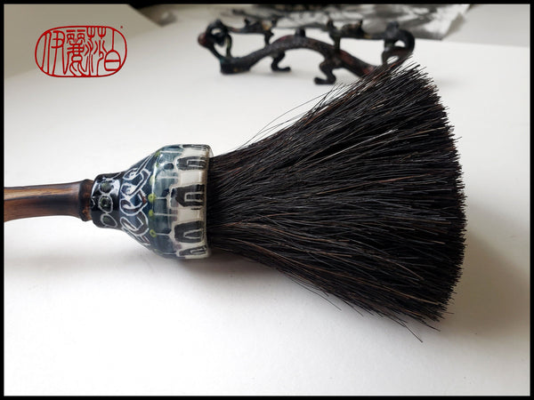 Coarse Black Horsehair Sumi-e Paint Brush With Porcelain Ferrule Art Supplies Elizabeth Schowachert Art