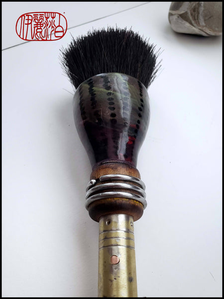 Coarse Dark Black Horsehair Paint Brush with Antique Wood Bobbin Spool Handle Art Supplies Elizabeth Schowachert Art