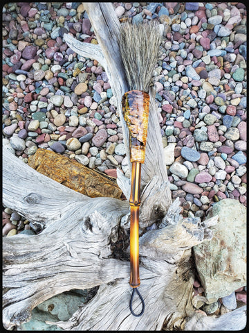 Coarse Grey Horsehair Sumi-e Paint Brush With Curled Aspen Bark Ferrule Art Supplies Elizabeth Schowachert Art