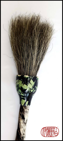 Coarse Grey Horsehair Sumi-e Paintbrush With Porcelain Ferrule Art Supplies Elizabeth Schowachert Art