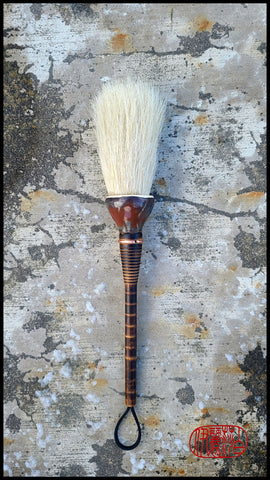 Coarse Horsehair Paint Brush with Antique Wood Bobbin Spool Handle Art Supplies Elizabeth Schowachert Art