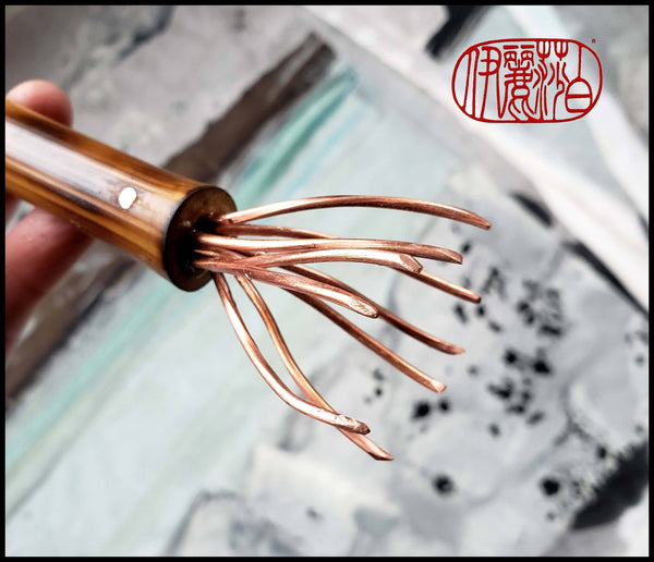 Copper Wire Brush with Bamboo Handle Art Supplies Elizabeth Schowachert Art