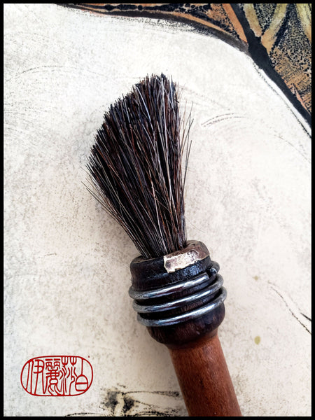 Course Black Horsehair Paint Brush with Antique Wood Bobbin Spool Handle - Elizabeth Schowachert Art
