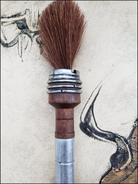 Course Dark Auburn Horsehair Paint Brush with Antique Wood Bobbin Spool Handle - Elizabeth Schowachert Art