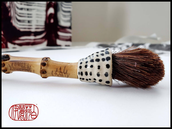 Course Dark Auburn Horsehair Paint Brush with Stoneware Ferrule Art Supplies Elizabeth Schowachert Art