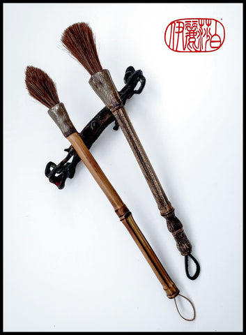 Dark Auburn Horsehair Paint Brushes with Stoneware Ferrule Art Supplies Elizabeth Schowachert Art