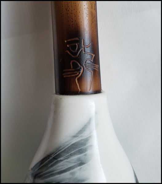 Dark Auburn Horsehair Sumi-e Paint Brush With Porcelain Ferrule Art Supplies Elizabeth Schowachert Art