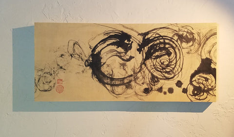 Dragon Dance 13X30X2 Ink on Paper Painting by Elizabeth Schowachert - Elizabeth Schowachert Art