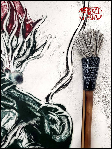 Grey Horsehair Round Sumi-e Paint Brush With Porcelain Ferrule Art Supplies Elizabeth Schowachert Art