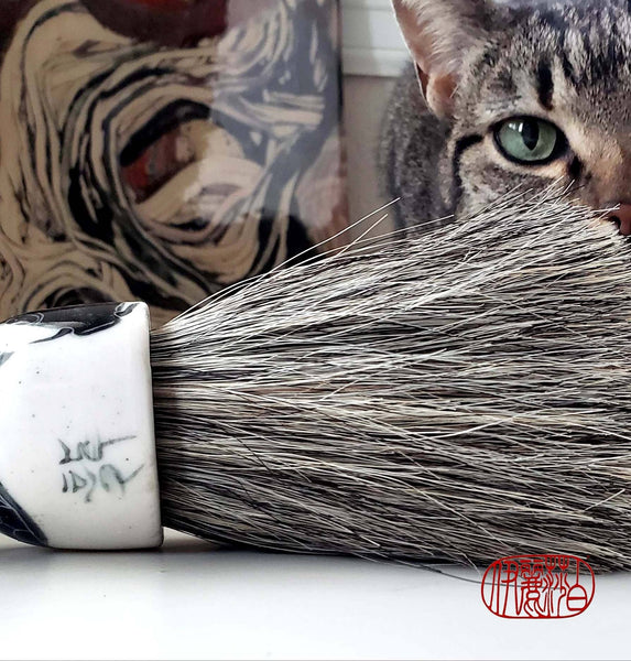 Grey Horsehair Sumi-e Paint Brush with Porcelain Ferrule Art Supplies Elizabeth Schowachert Art