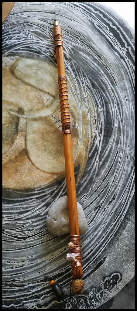Handmade Clay or Encaustic Art Tool Natural Reed Wood Handle With Sharp Triangle Metal Blade - Elizabeth Schowachert Art