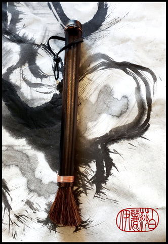 "Handmade Dark Auburn Horse Hair Paint Brush with a 9"" Bamboo Handle - Elizabeth Schowachert Art"