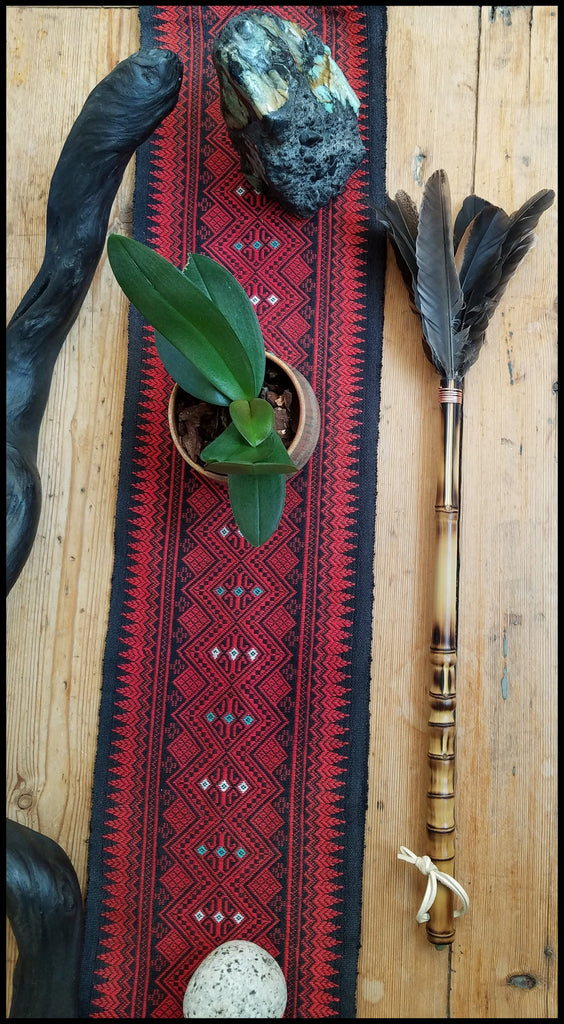 Handmade Domestic Feather Paint Brush on 15 inch TX Bamboo Handle - Elizabeth Schowachert Art