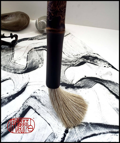 Handmade Dragon Sumi-e Paint Brush with Grey Horsehair - Elizabeth Schowachert Art
